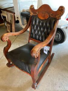 19TH CENTURY VICTORIAN TUFTED LEATHER PARLER ROCKER