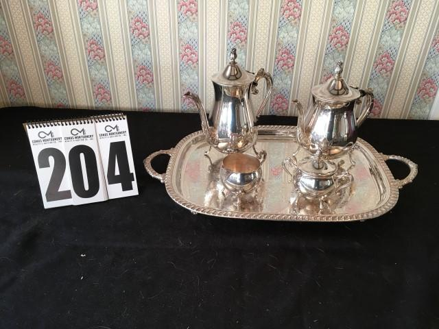 Coffee and tea set Silver plated #5004 by Leonard Silver Mfg. Boston Mass. - Current price $16 & Coffee and tea set Silver plated #5004 by Leonard Silver Mfg ...
