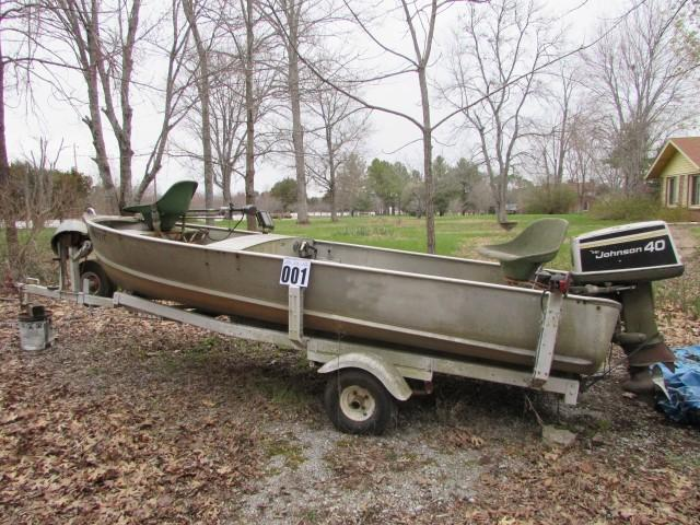 14 Ft  V Hull Fishing Boat on trailer with a 40hp Johnson