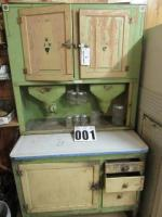 Hoosier Cabinet w/sifter and metal bin, left door on top loose