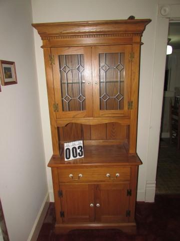 China Cabinet, Rex Furniture Co. Georgia, Glass Front U0026 Shelf W/light On  Top, 2 Doors And 1 Drawer W/shelf Inside On Bottom, 2 Pieces, Maple Stain    Current ...