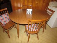 Kitchen table 30H, 54W, 42D, 4 chairs 36x17