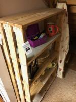 "Wooden Shelf w/ contents (bring boxes)- 60""x36""x14"""