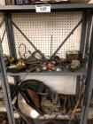 Metal Shelf w/ Contents- Headlights, Carburetor, Covers, Etc.