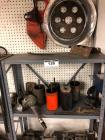Metal Shelf w/ Contents- Oil Filters, Carburetors, Wheel Insert, Etc.