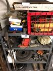 Metal Shelf w/ Contents- Brake Rotors, Reflectors, Mini Air Compressor, Etc.