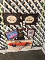 Collection of Corvette Art- Pictures, Rug, Plaque, Etc.