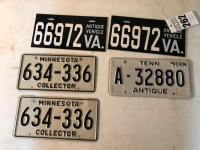 Antique Vehicle License Plates (3) w/ Minnesota Collector License Plates (2)