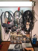 SALVAGE LOT (Bring Own Boxes)- Storage Bin, Belts, RCA VCR Maintenance Kit, Etc. (ONLY CONTENTS INSIDE TAPE, Work Bench Not Included)