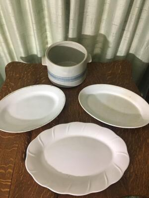 Assorted plates and crock