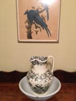 Bird print pitcher and bowl