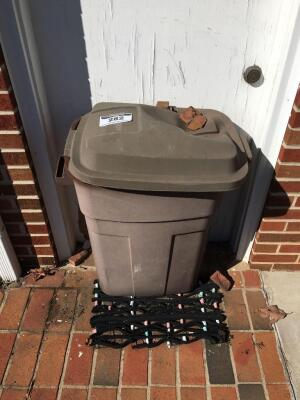 Trash can with outdoor items and door mat