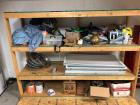 "SALVAGE LOT (Buyer Bring Help and Boxes) Wooden Shelf 73""T, 96""W, 29""D Including Hub Caps, Propane, Grease Tubes, Caulk Gun, Etc."